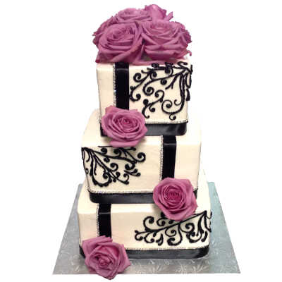 3 Tier Black & White & Purple flower Wedding.png