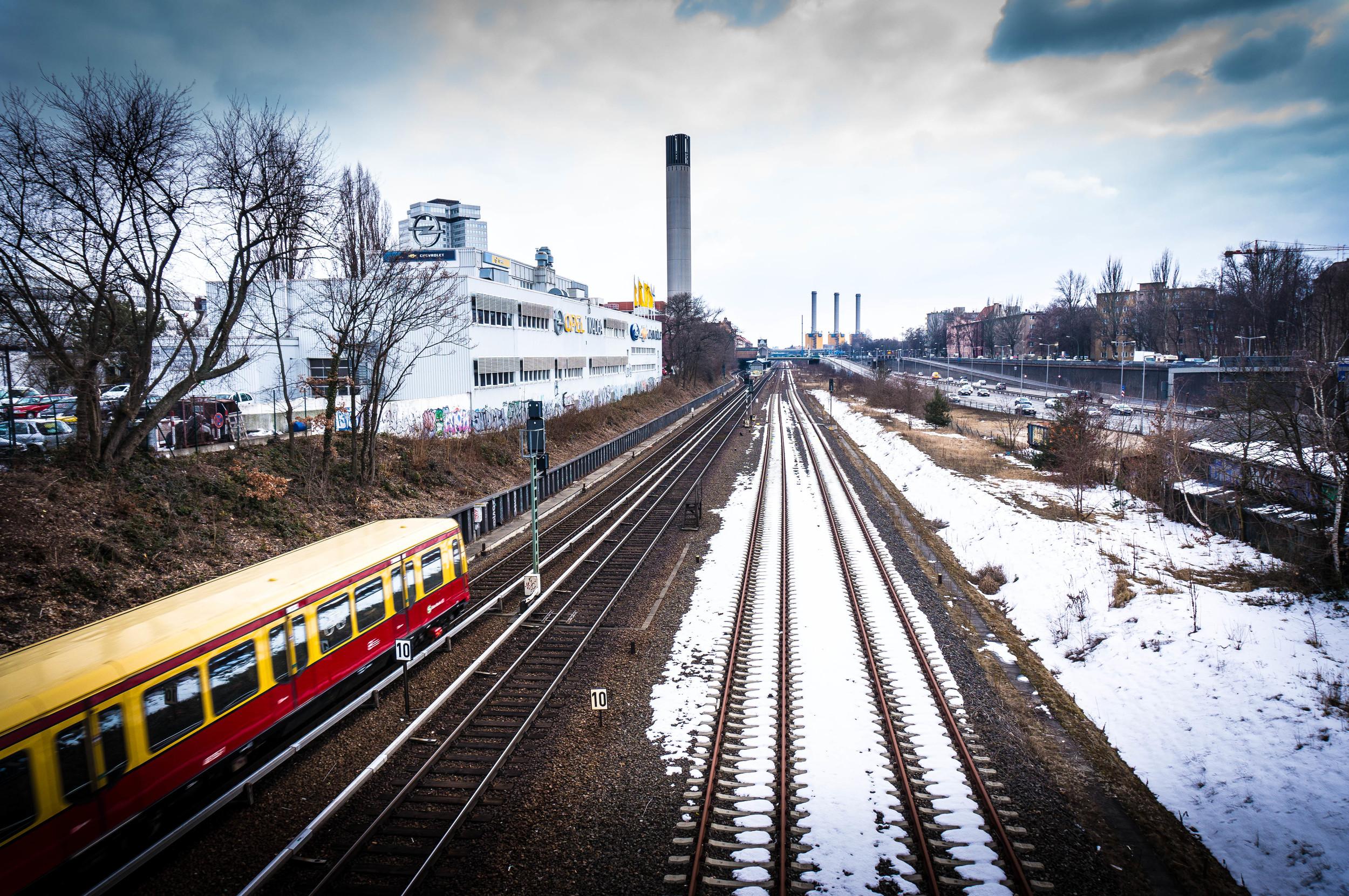 S-Bahn train on snowy tracks