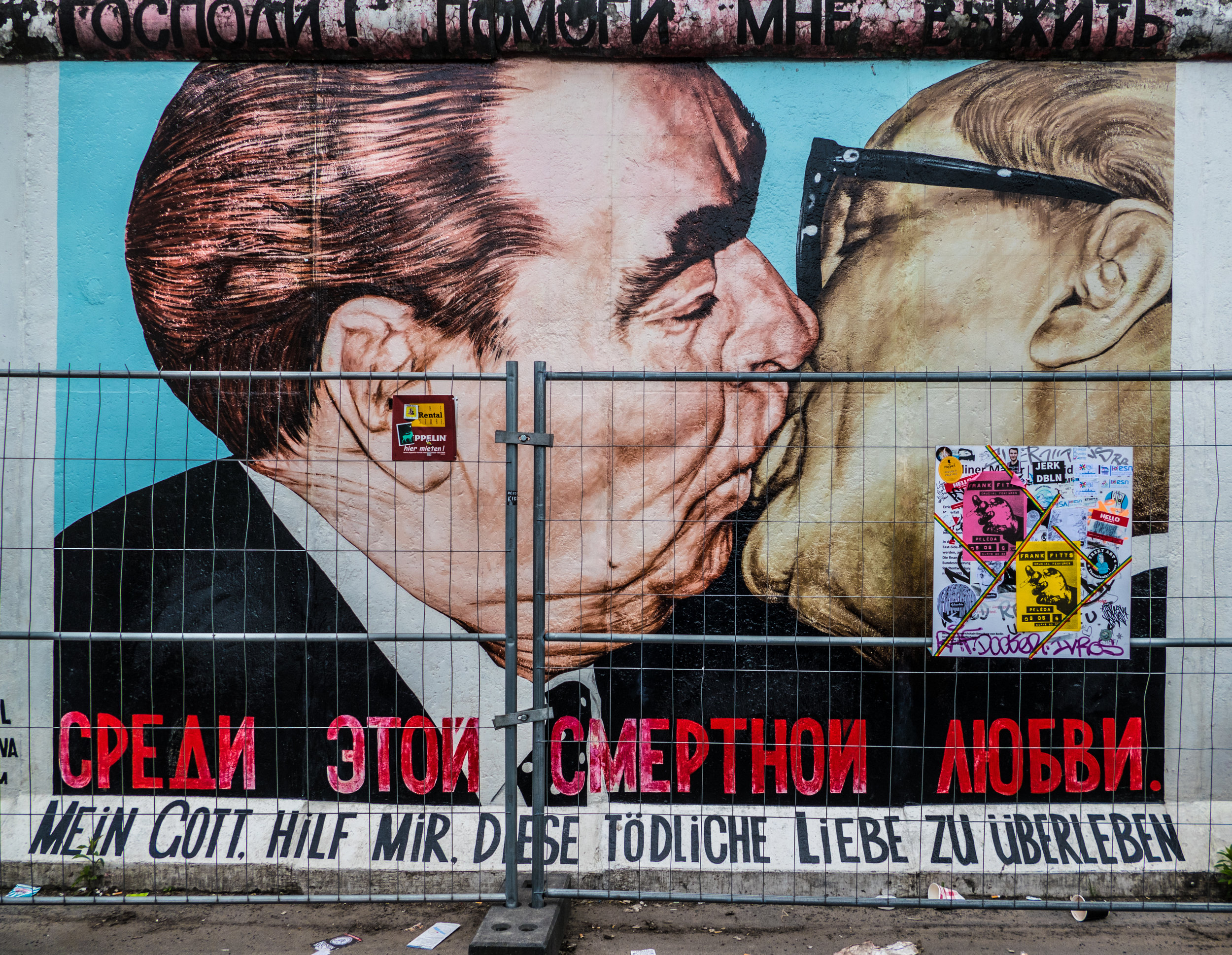 The famous Socialist Kiss between Brezhnev and Honecker