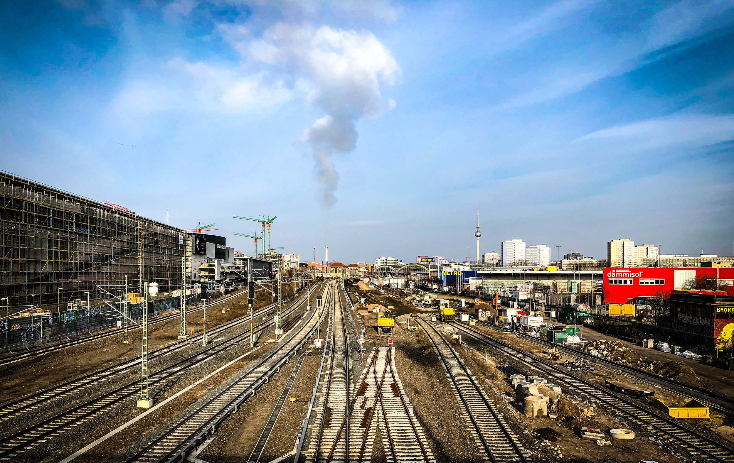 Steam plume over railway tracks at Friedrichshain