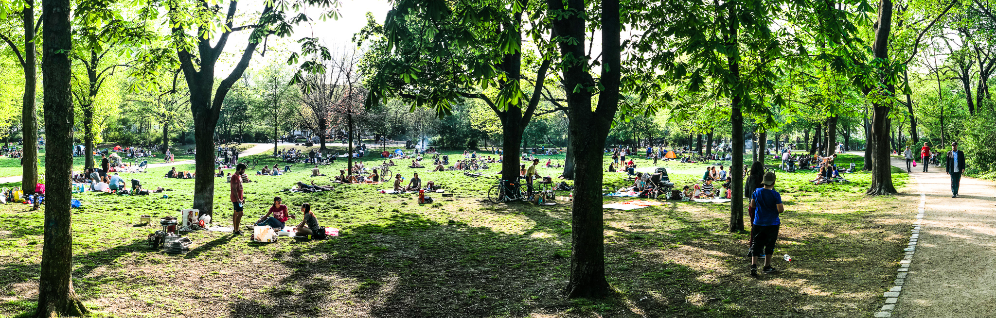 Relaxing in the sunshine at Volkspark, Friedrichshain