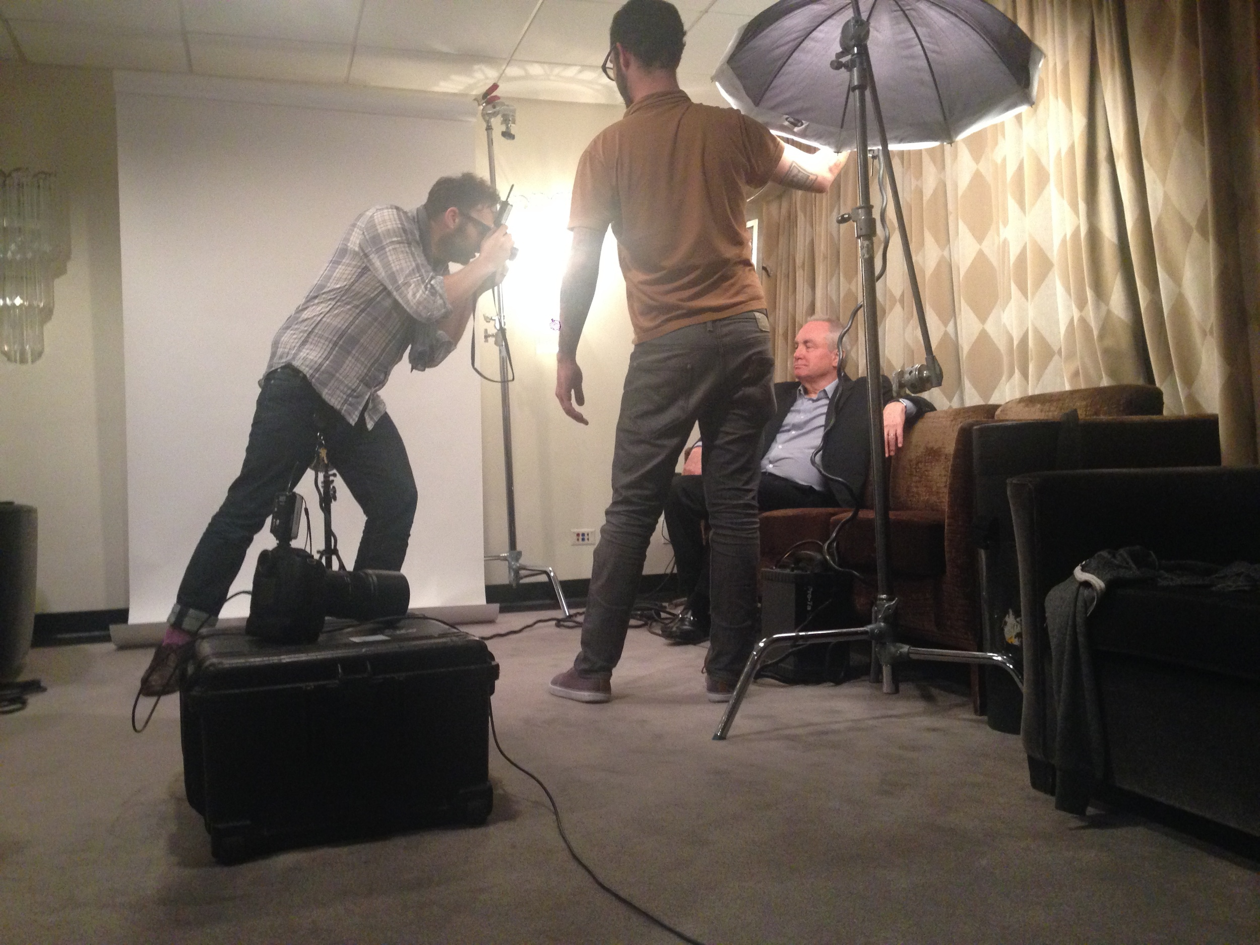 Mark Mann (who photographed President Obama for Esquire in just 4 minutes), working fast with Lorne Michaels for AwardsLine inside a 6-minute window between tapings of The Tonight Show and Late Night (with SNL rehearsals happening behind that curtain).