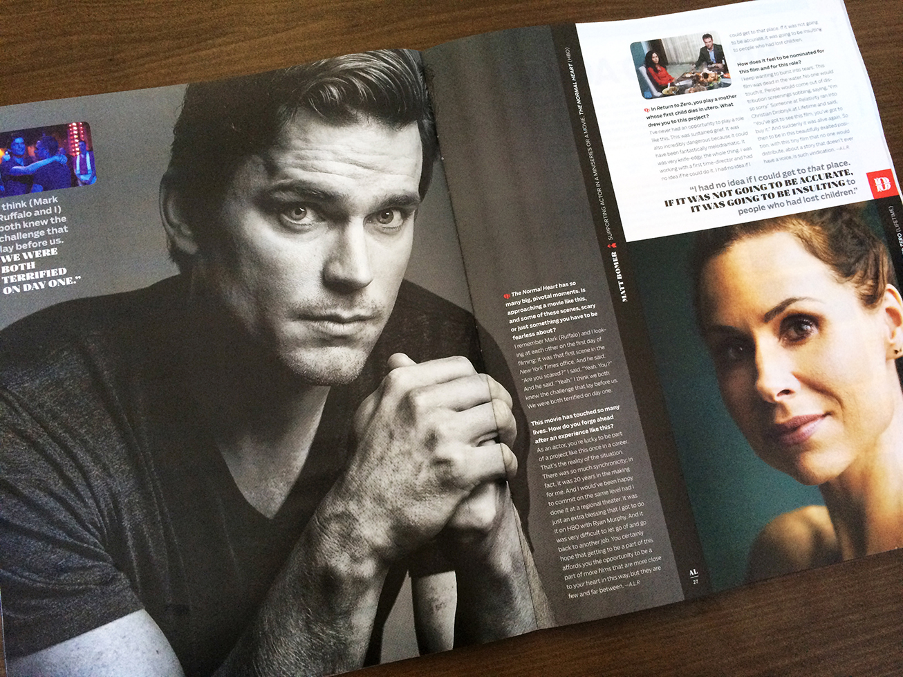 Matt Bomer (The Normal Heart), photographed by Mark Mann. Minnie Driver photographed by J.R. Mankoff