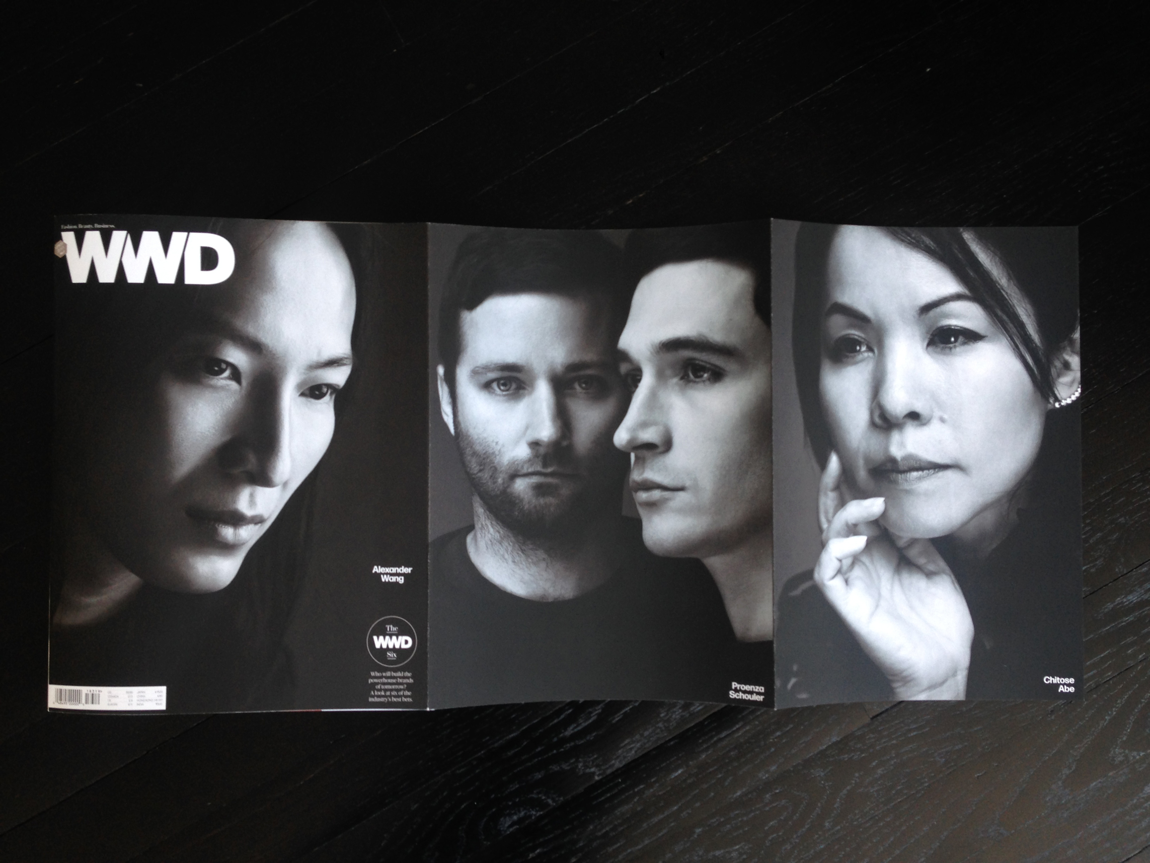 Triple gatefold A, featuring Wang, Proenza Schouler and Chitose Abe.  Photography by Nigel Parry. The covers were photographed in 6 days and shipped to the printer less than 48 hours after the final shoot was complete, which meant making selects immediately after each session and hoping they'd all fit together nicely in a triptych at the end (I also did not know who'd be on the cover other than Wang).