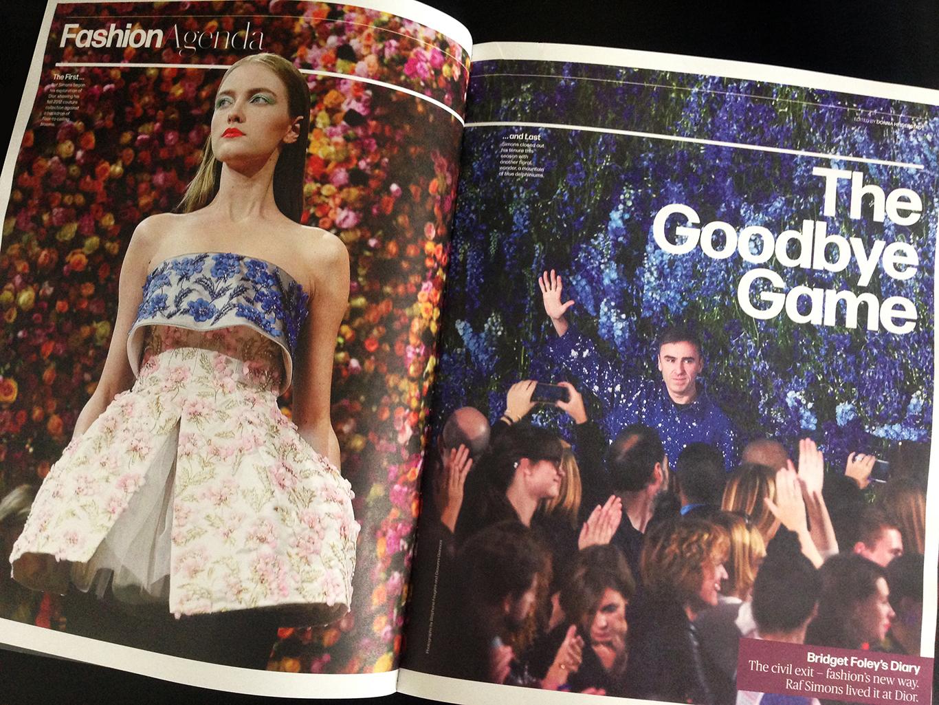 Raf Simons departs Dior.Layout by Nick Mrozowski