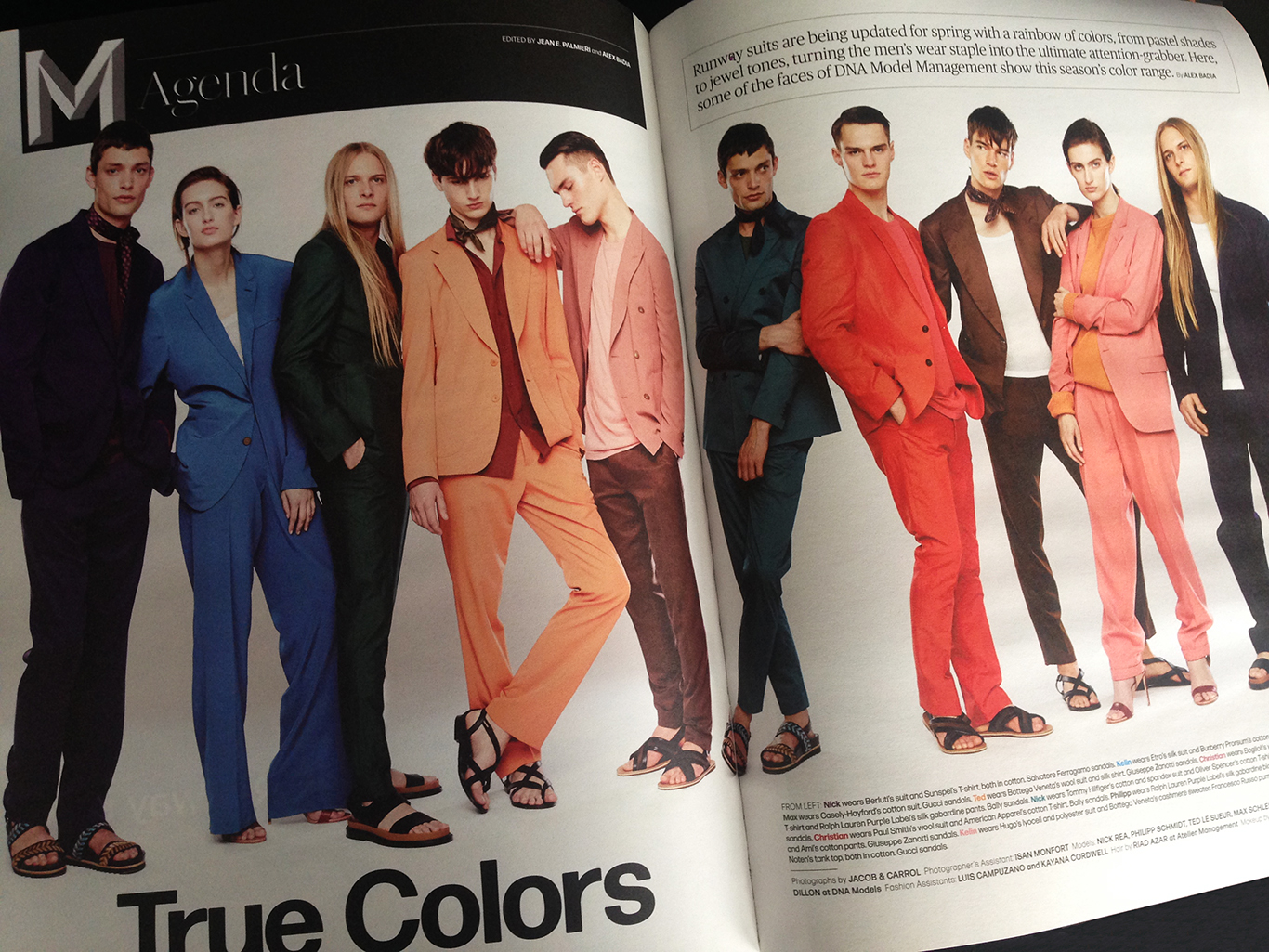 The season's rainbow of suit colors, photographed by Jacob & Carrol. Styled by Alex Badia,  layout by Nick Mrozowski