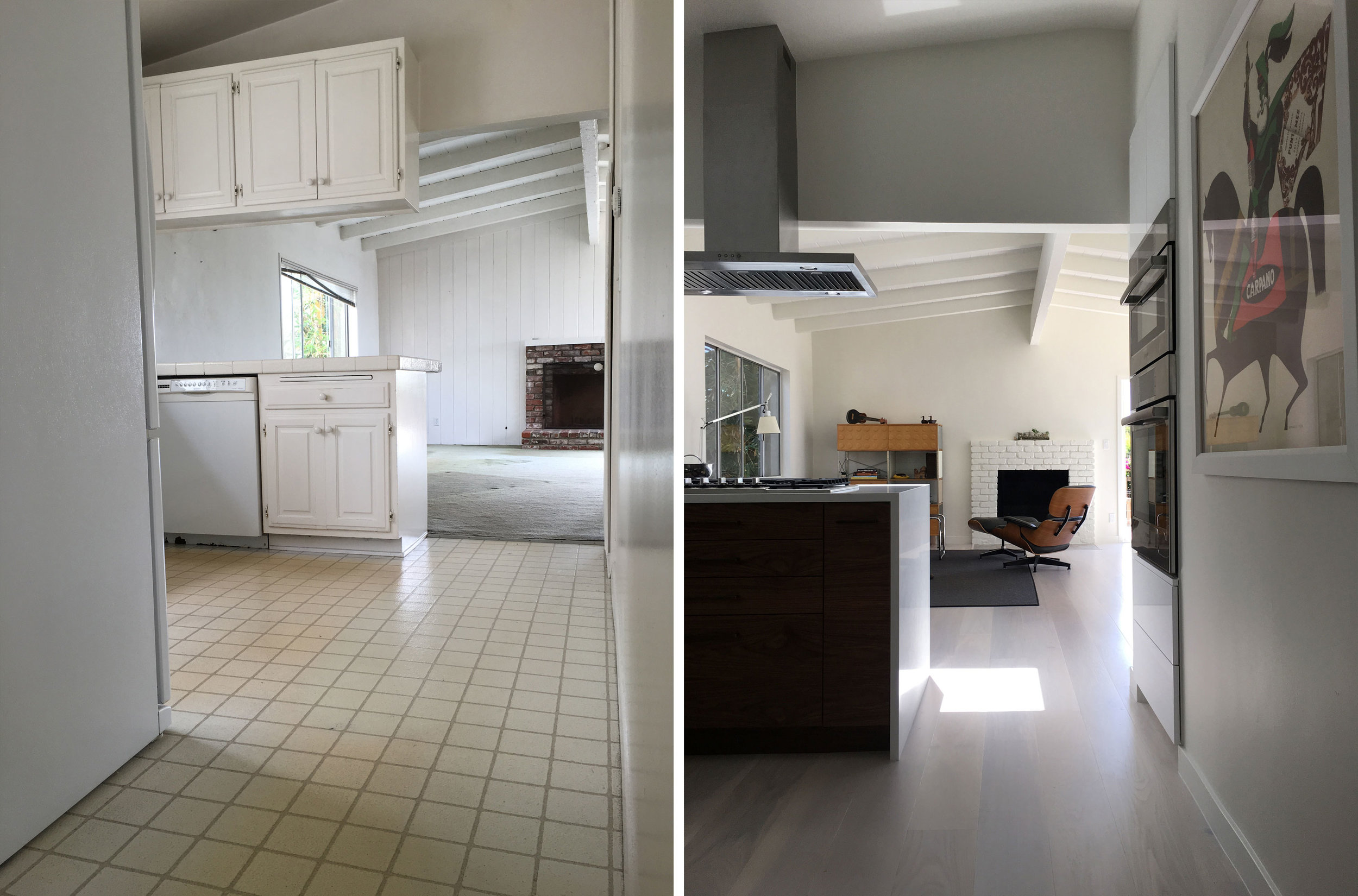 Before and After: Looking into Living Room from Kitchen