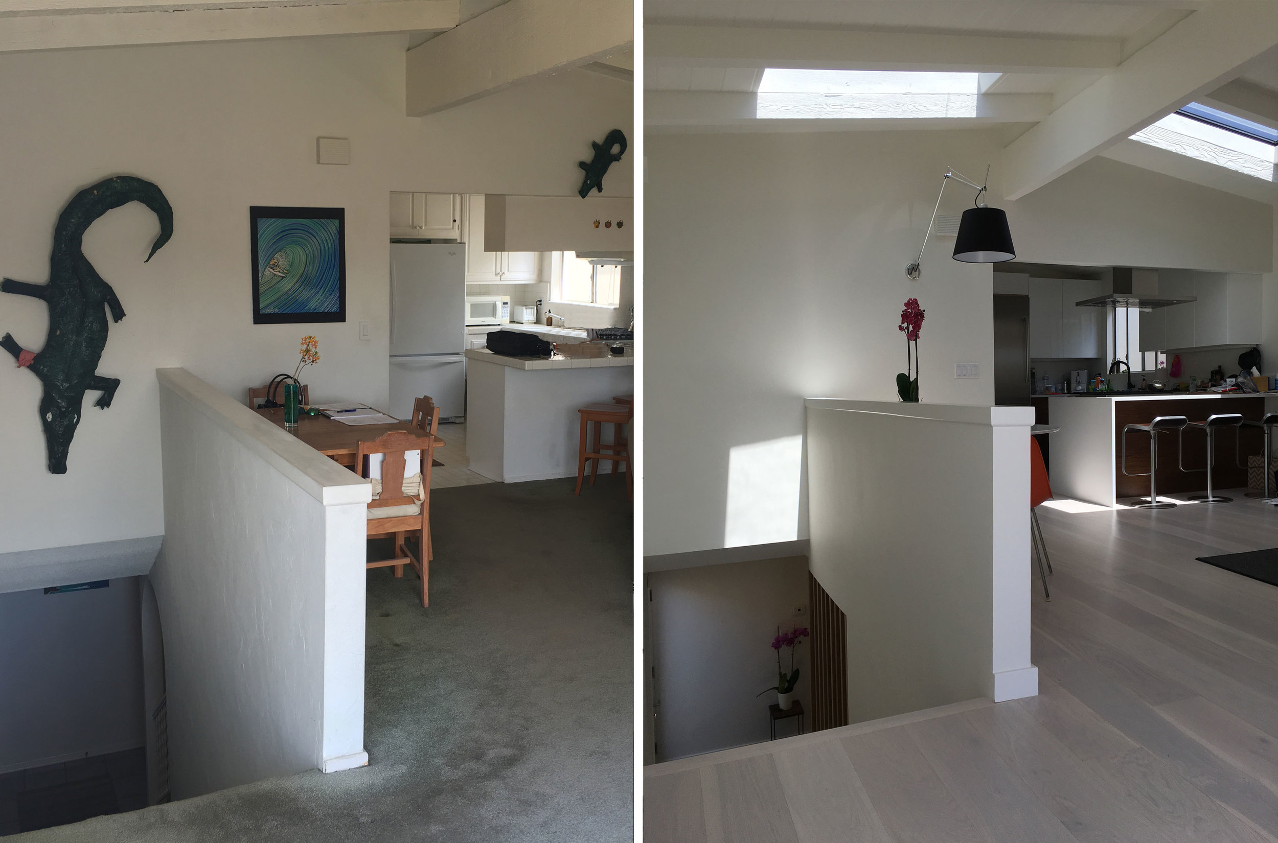 Before and After: Looking into Kitchen from Landing