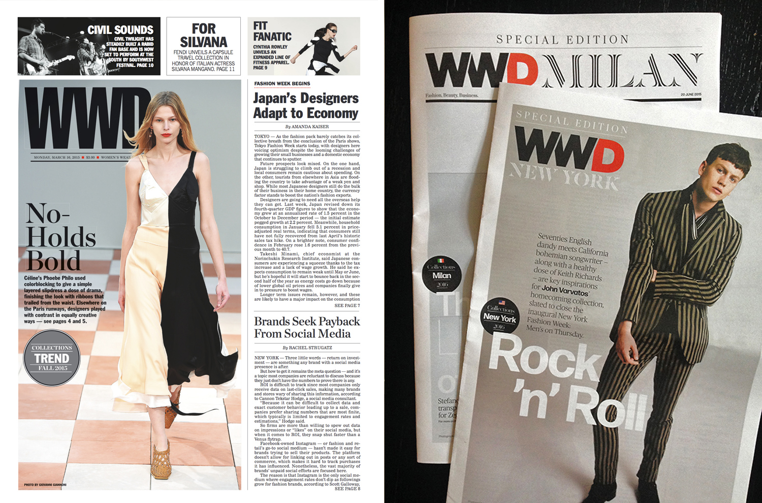 One of the final printed daily editions   (  left) —   before the launch of the new weekly magazine — using the   Swiss 911   Extra Condensed logo. The new logo on two fashion week dailies (right).