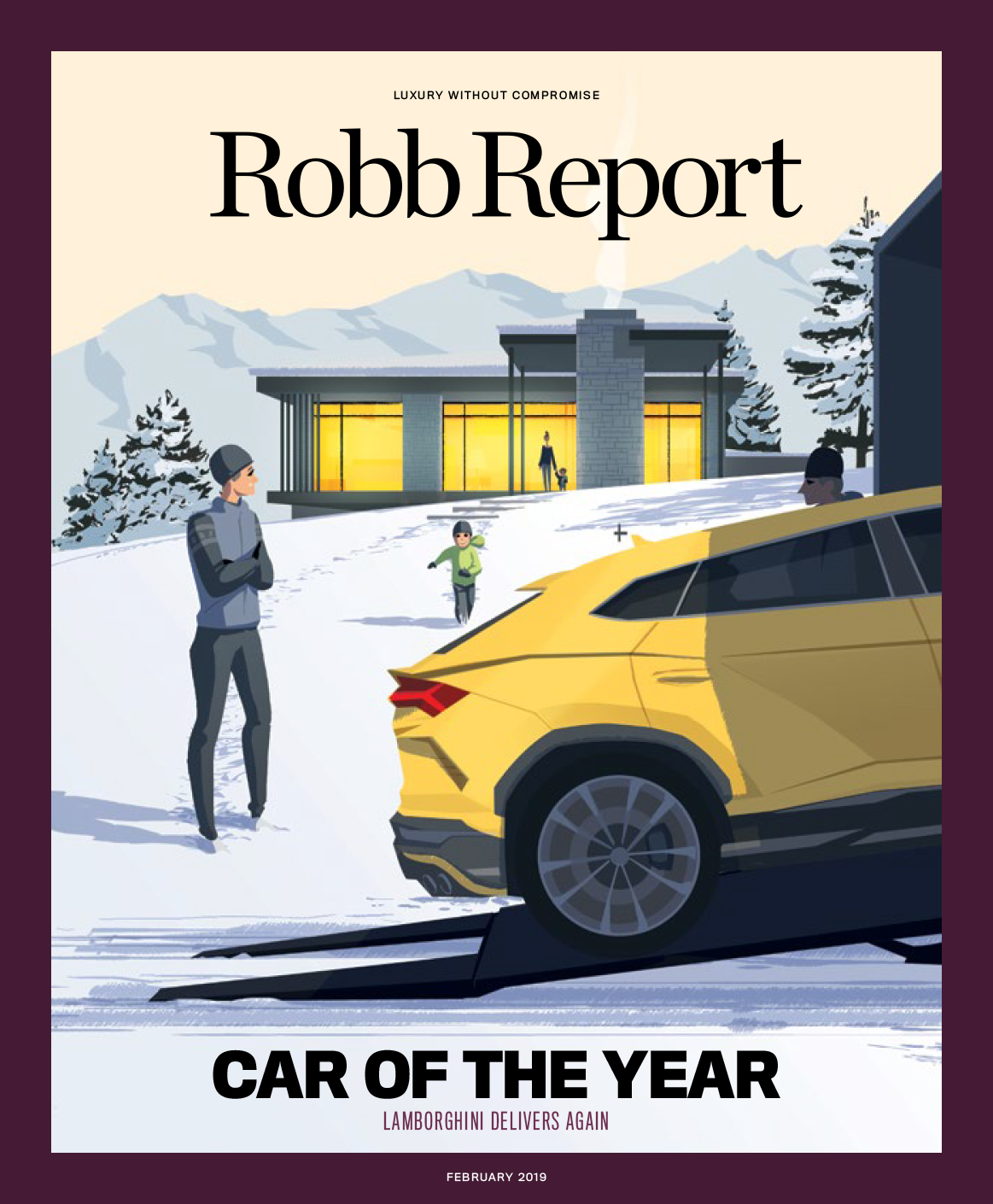 With Lamborghini winning for the second year in a row, I thought it would be fun to revisit last year's cover and see our collector and his family receiving the Urus up in their mountain home. Illustration by Mattheiu Forichon