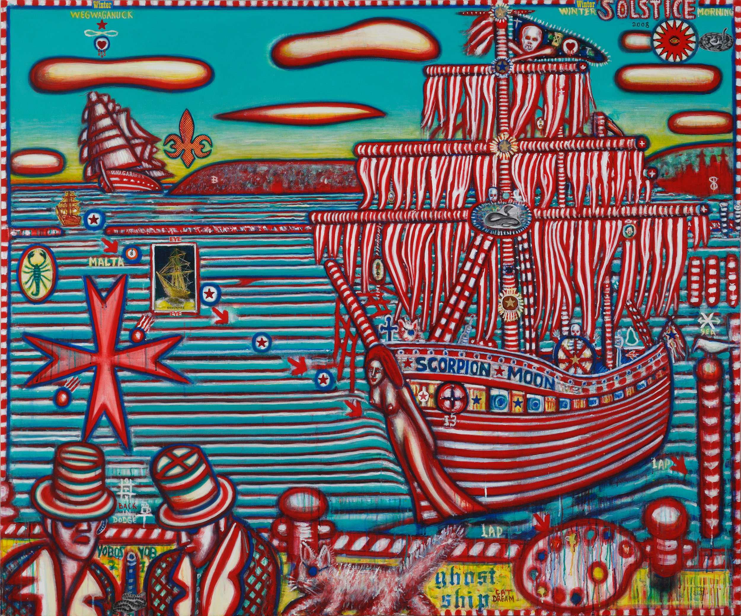 David Slater,  Ghost Ship , 2009, mixed media on canvas, 60 x 72""