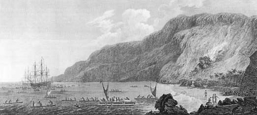 This is the first known engraving of a man on a surfboard, made from a sketch drawn in 1778 during Captain cook's third voyage to the pacific. The figure paddling at lower left is heading out with other Hawaiians to meet Cook's ships at Kealakekua Bay.