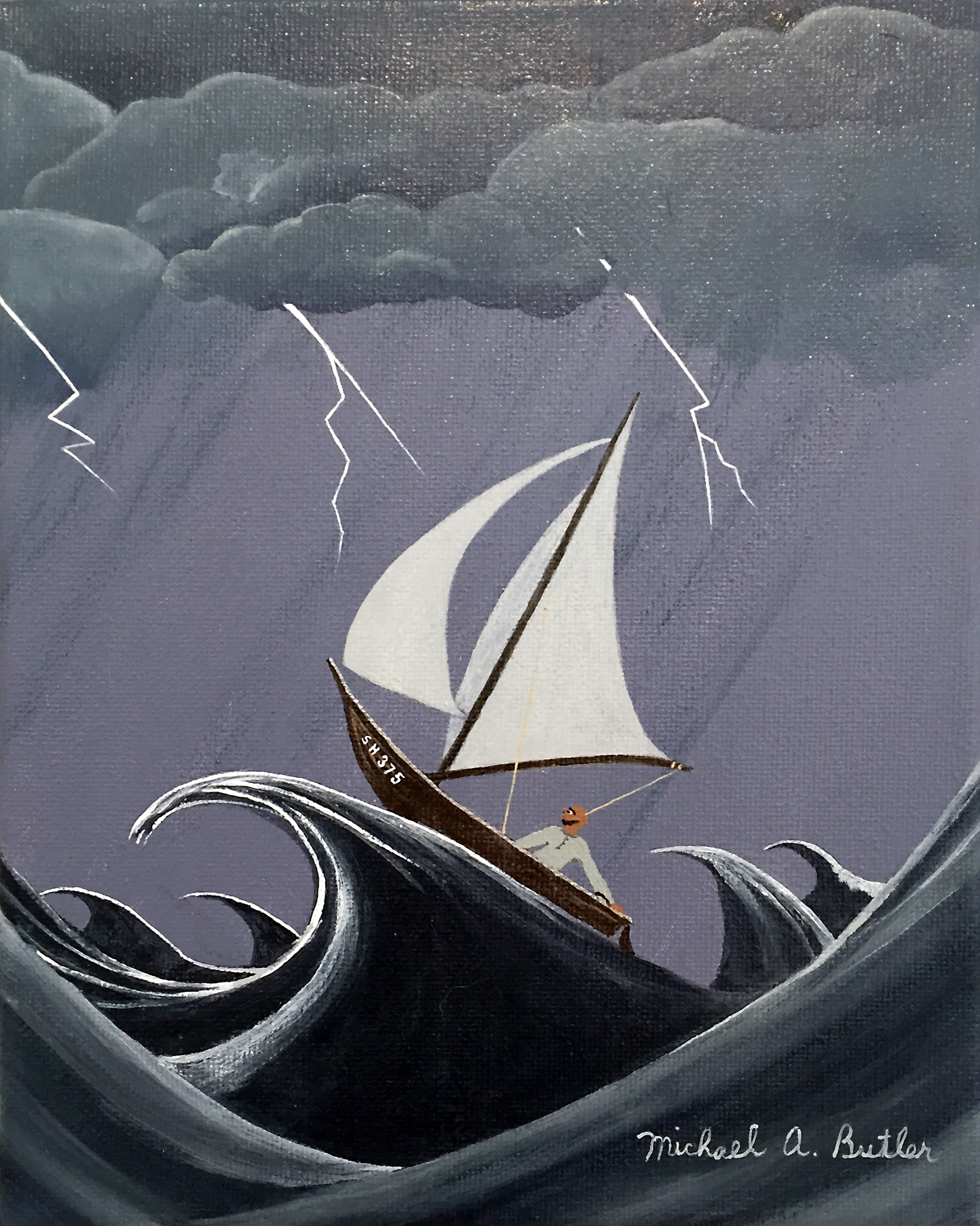 """Michael Butler,  Tempest-Tossed , acrylic on canvas, 8 x 10"""""""