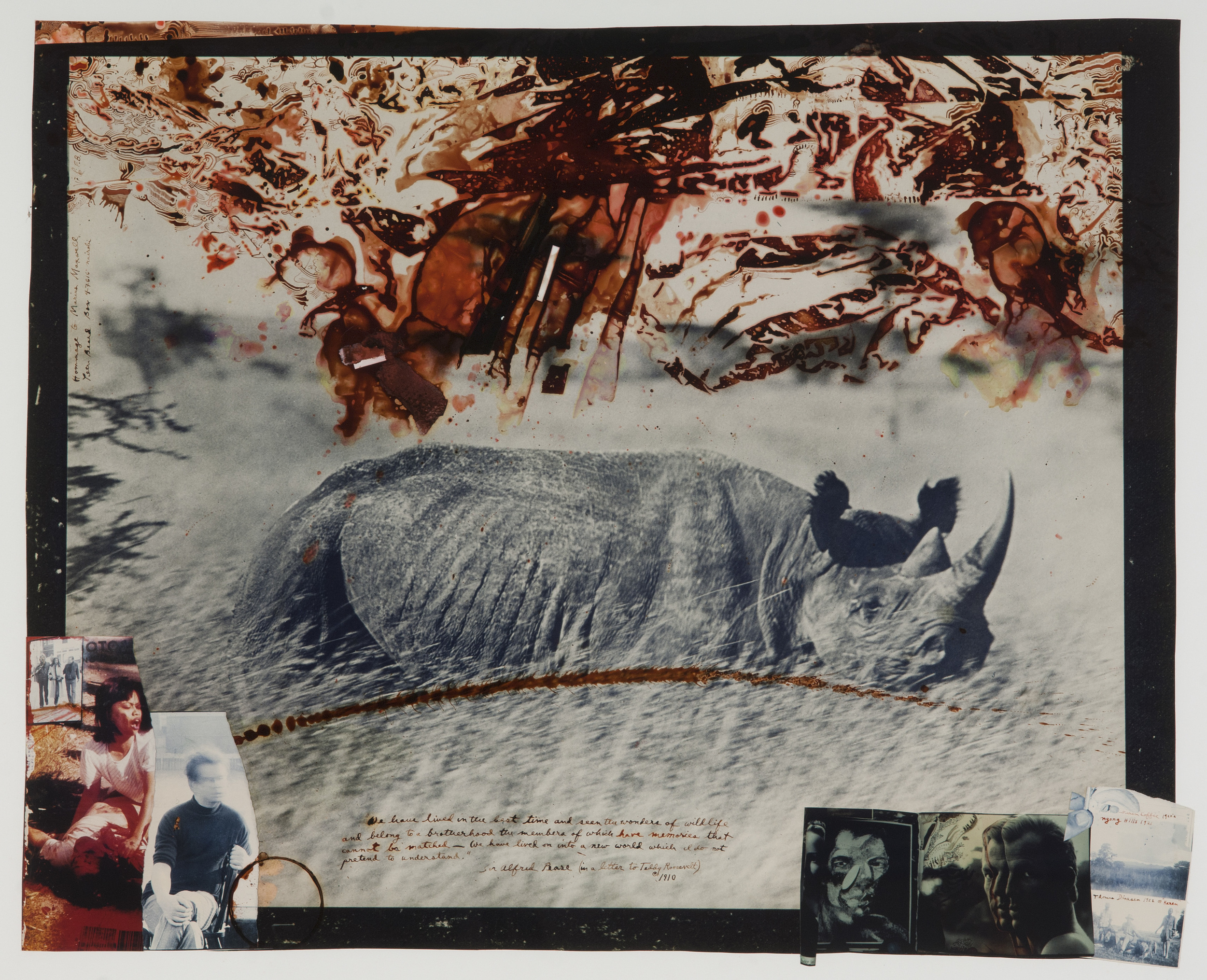 PETER BEARD (American, b. 1938) Hommage to Marius Maxwell Gelatin silver print with inscriptions, collage, and blood 26 1/2 x 33 1/2 inches