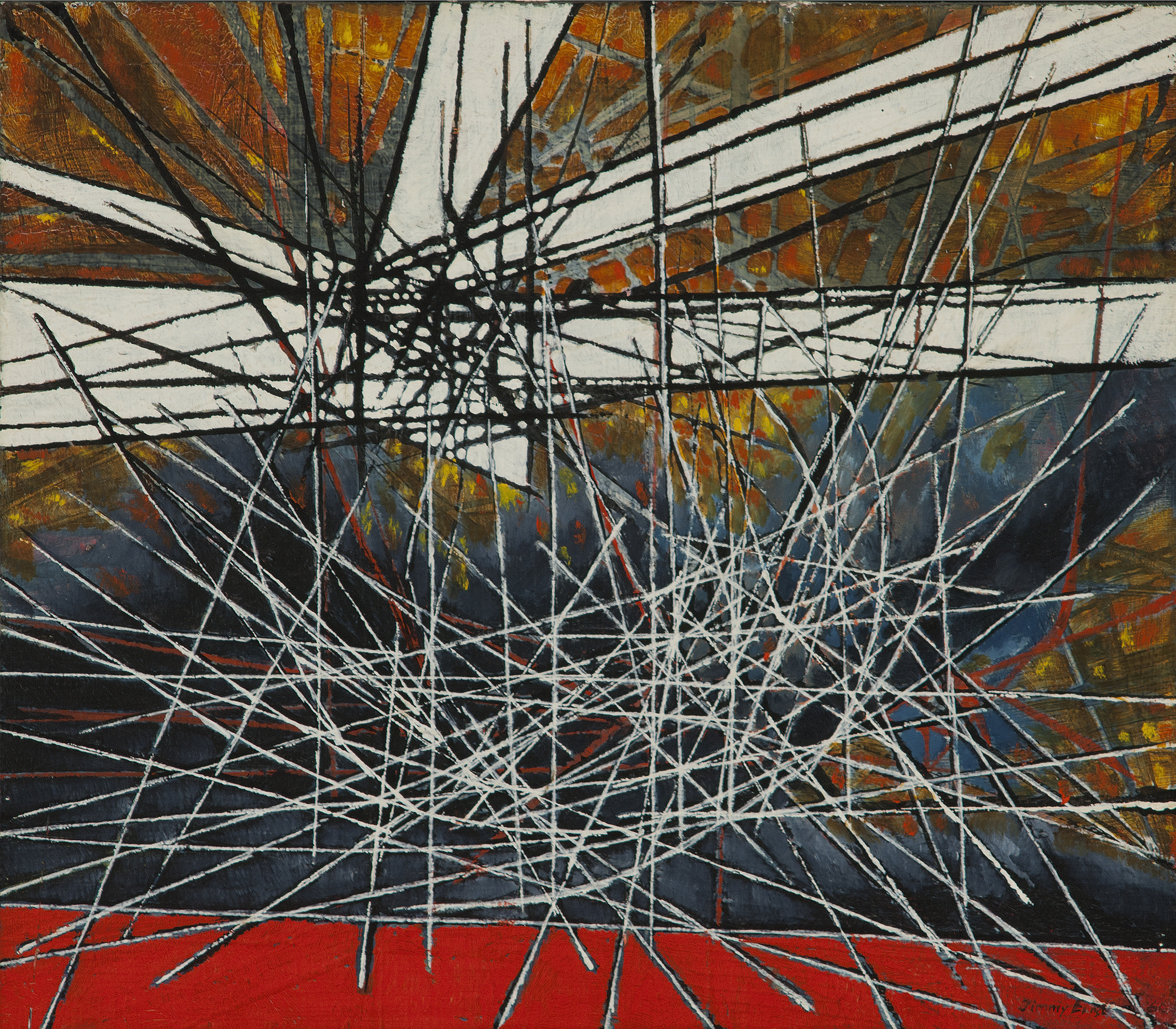 JIMMY ERNST Image Scape VII, 1960 oil on masonite, 6 x 6 inches Signed Jimmy Ernst (lower right)