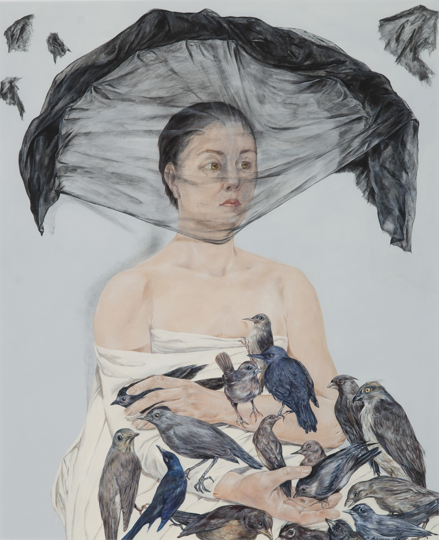 Anna Jurinich Saving Her Face, 2010 Acrylic, staples 31 x 27 inches