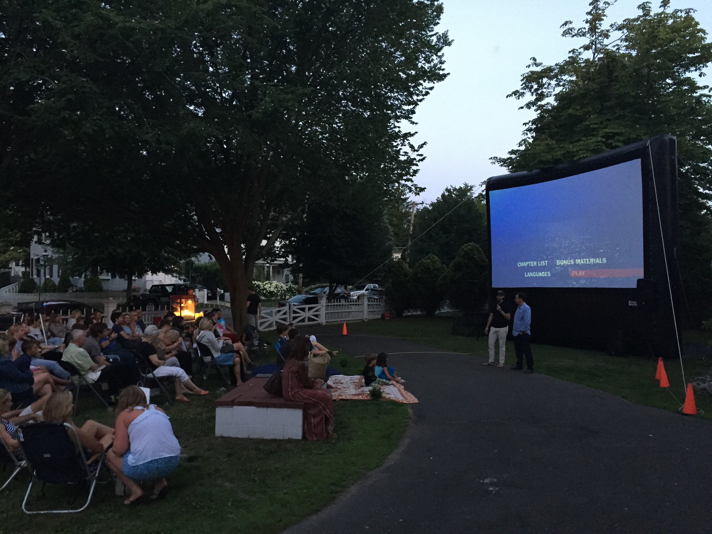 Co-curators, Stephen T. Lobosco and Peter Drakoulias, speak at the 40th Anniversary Screening of JAWS on the front lawn!