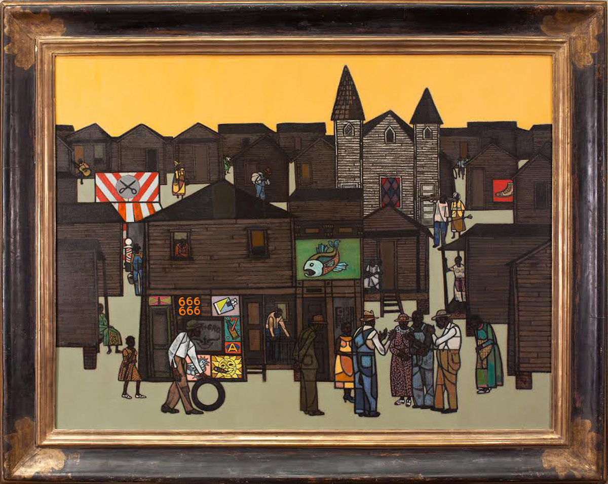 Robert Gwathmey (1903-1988)  The Gathering, c. 1959,  Oil on canvas, 36 x 48 inches. Signed lower left: Gwathmey