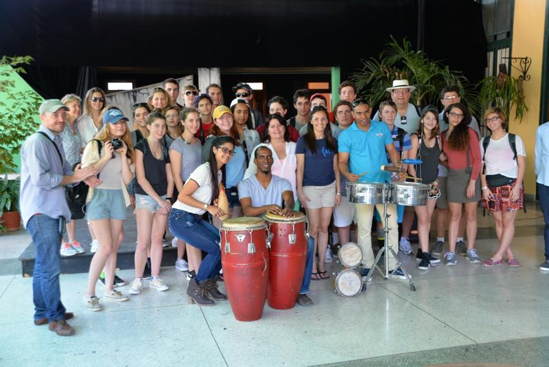 A group photo of Pierson High School students and their faculty chaperones at an interactive musical workshop in Havana, Cuba.  Peter Solow photo