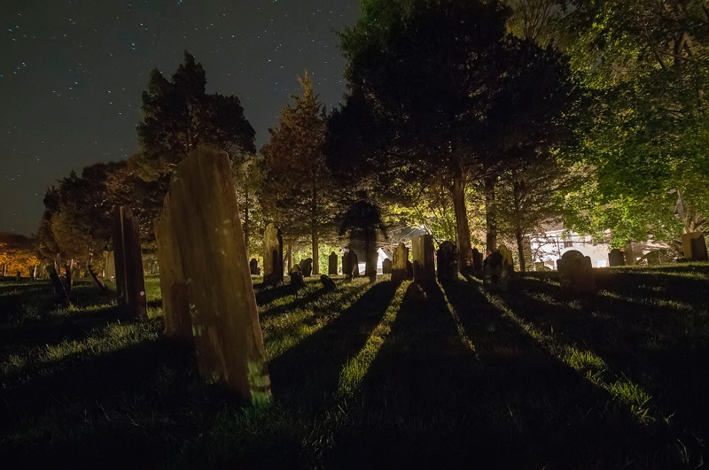 The graveyard of Sag Harbor's Old Whalers Church on the night of October 23.  Michael Heller photo
