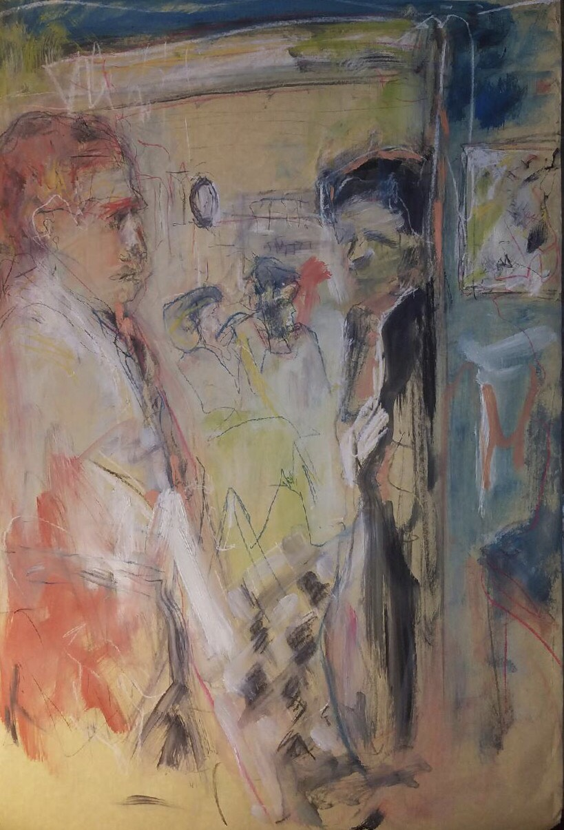 """""""General Store"""" by Mary Montes. [Grocer, Lee Krasner, Costantino Nivola, and Jackson Pollock at Springs General Store] Charcoal, Pastel and Oil on Paper, 37"""" x 24.5,"""" 2017."""