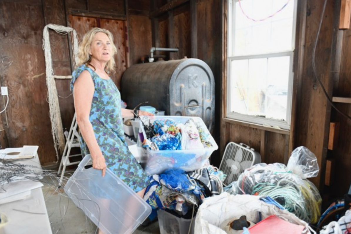 The artist with some of the material she uses in her work. Dana Shaw photo
