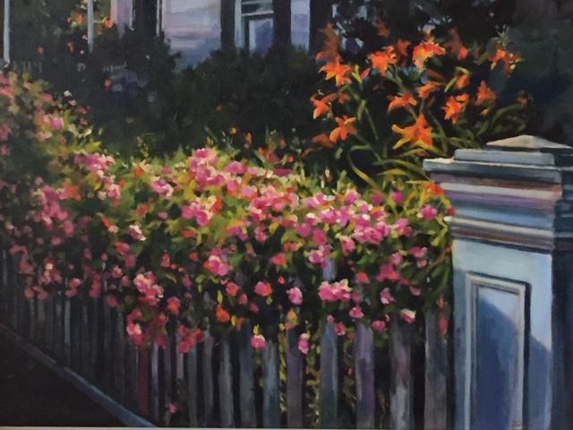 "Oil painting ""Sag Main Street Flower Fence"" by Lynne Tobias"