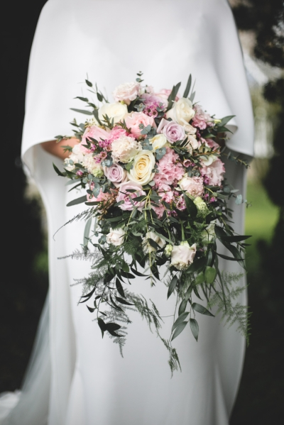 Our bride Melissa in a dramatic wool crepe cape
