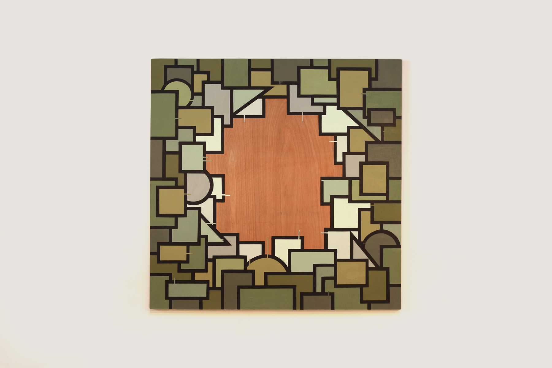 "Inward, 2015  48"" x 48"" Enamel on Wood Panel"
