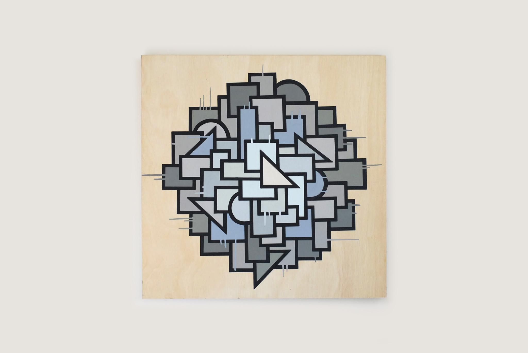 """Night Shift, 2014  36"""" x 36"""" Enamel on Wood Panel"""