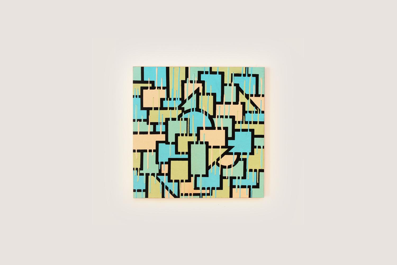 """Ice Cream Paint Job, 2014  24"""" x 24""""Enamel on Wood Panel"""