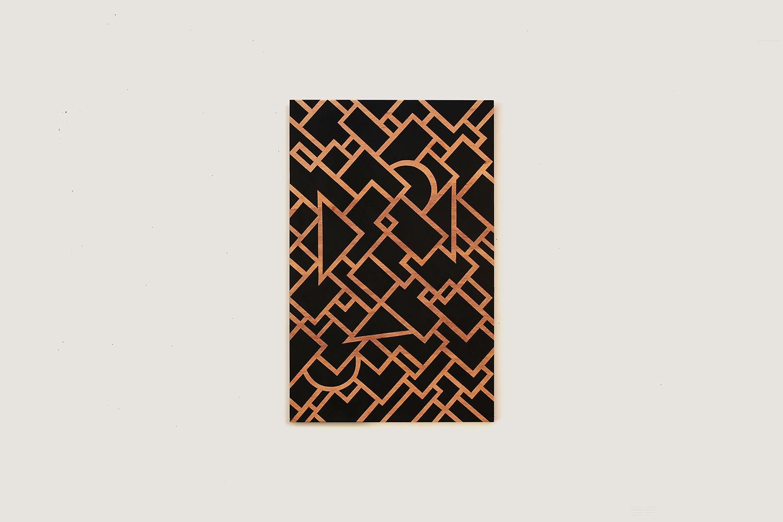"Untitled, 2016  24"" x 36""Enamel on Wood Panel"