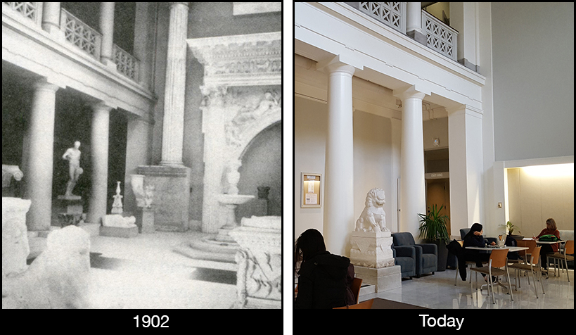 Views of the Robinson Hall lobby through time.