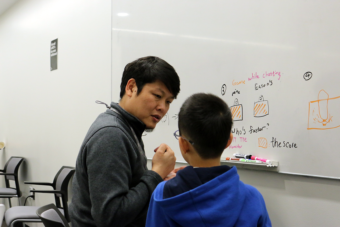 Yang Liu(left) gets feedback from Arthur Liu(right), who has a younger brother in Shanghai.
