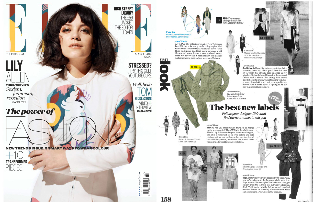 AR SRPLS was featured in the ELLE UK as one of the 'Best New Labels'