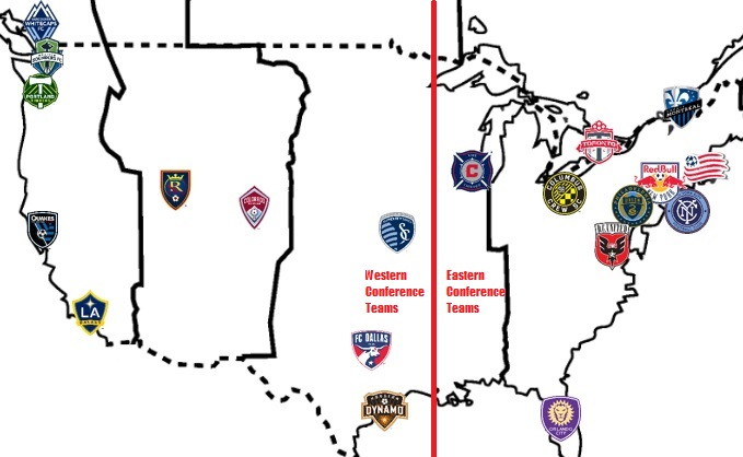 Back of the napkin rendering of MLS stadium locations. Obviously not perfectly to scale, but you get the drift: Western Conference teams travel farther.