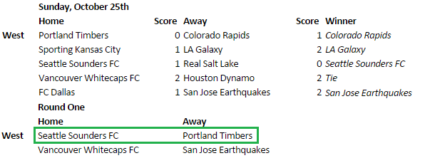 If LA beats SKC, then Vancouver must draw/lose for a SEA3 - POR6 matchup.