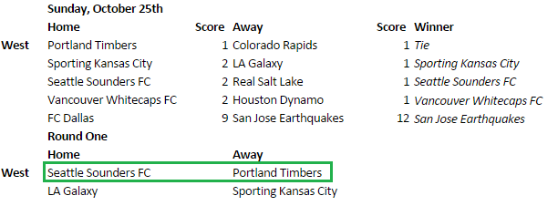 If SKC beats LA, then Vancouver must win for a         SEA3 - POR6 matchup.