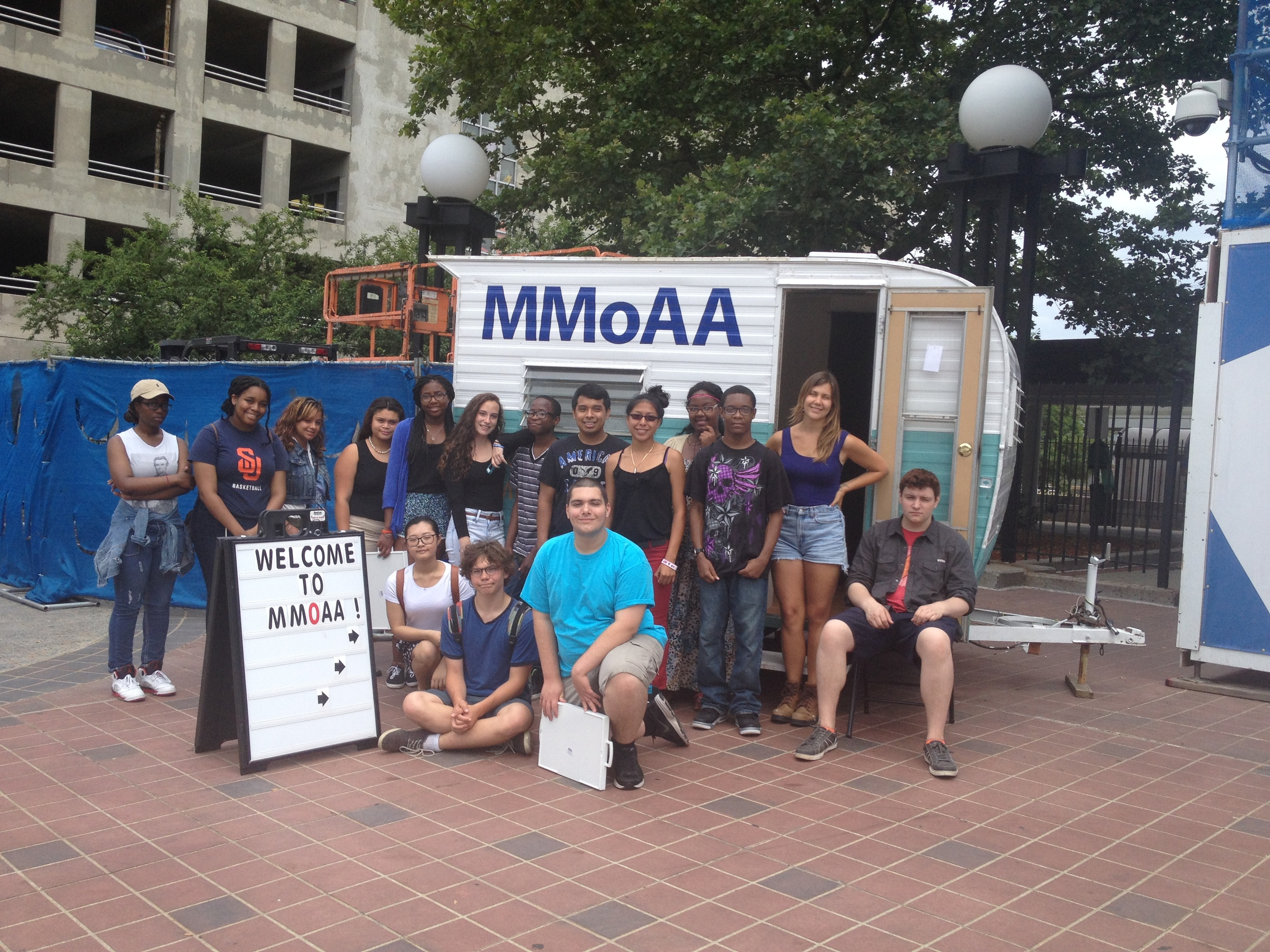 Artspace Summer Apprentices with MMoAA outside Union Station.