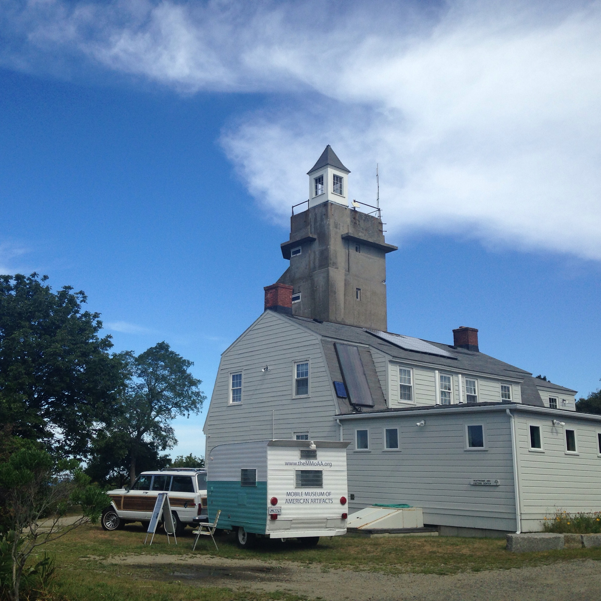 In front the the WWII Fire-Control Tower at Halibut Point State Park