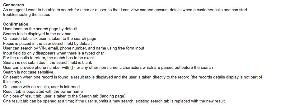 User story sample