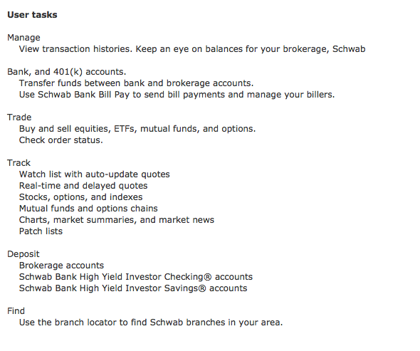 Schwab user tasks sample