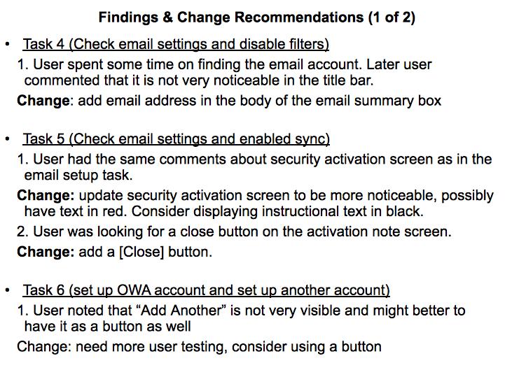 Usability test session sample