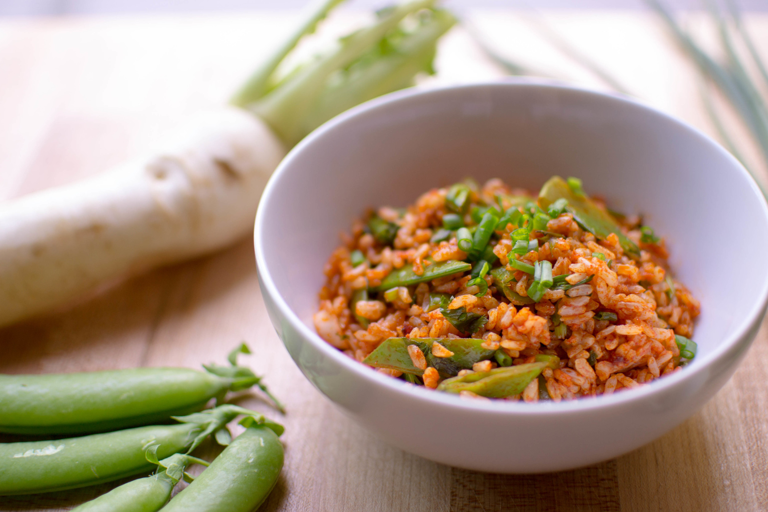 Snap Pea Fried Rice with Kimchee Seasoning Paste