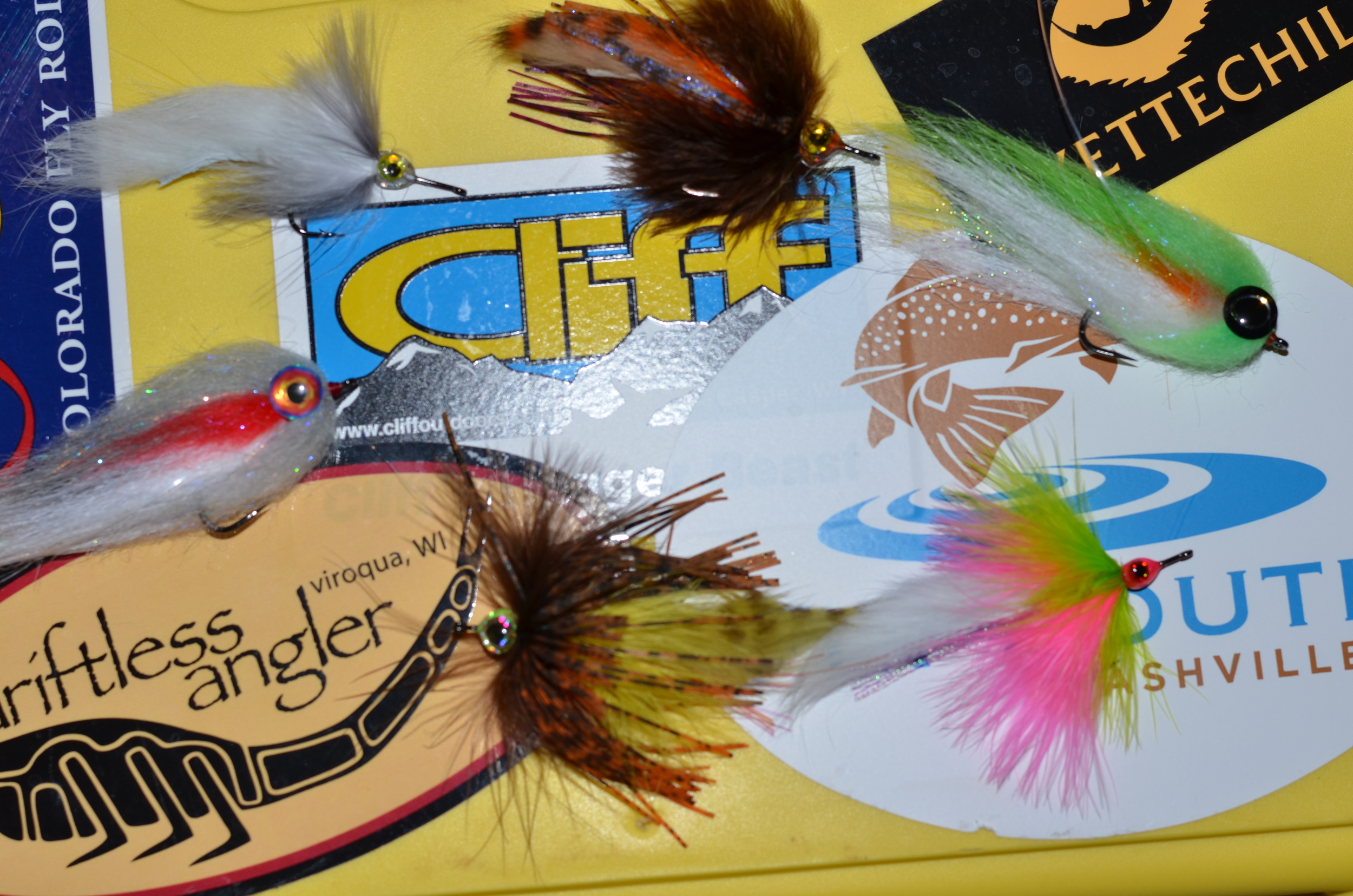 The flies that will be raffled off this Saturday. A couple Lot Lizards, Maddy's Minnows, and Single Bunnies. All tying instructions are on the site.