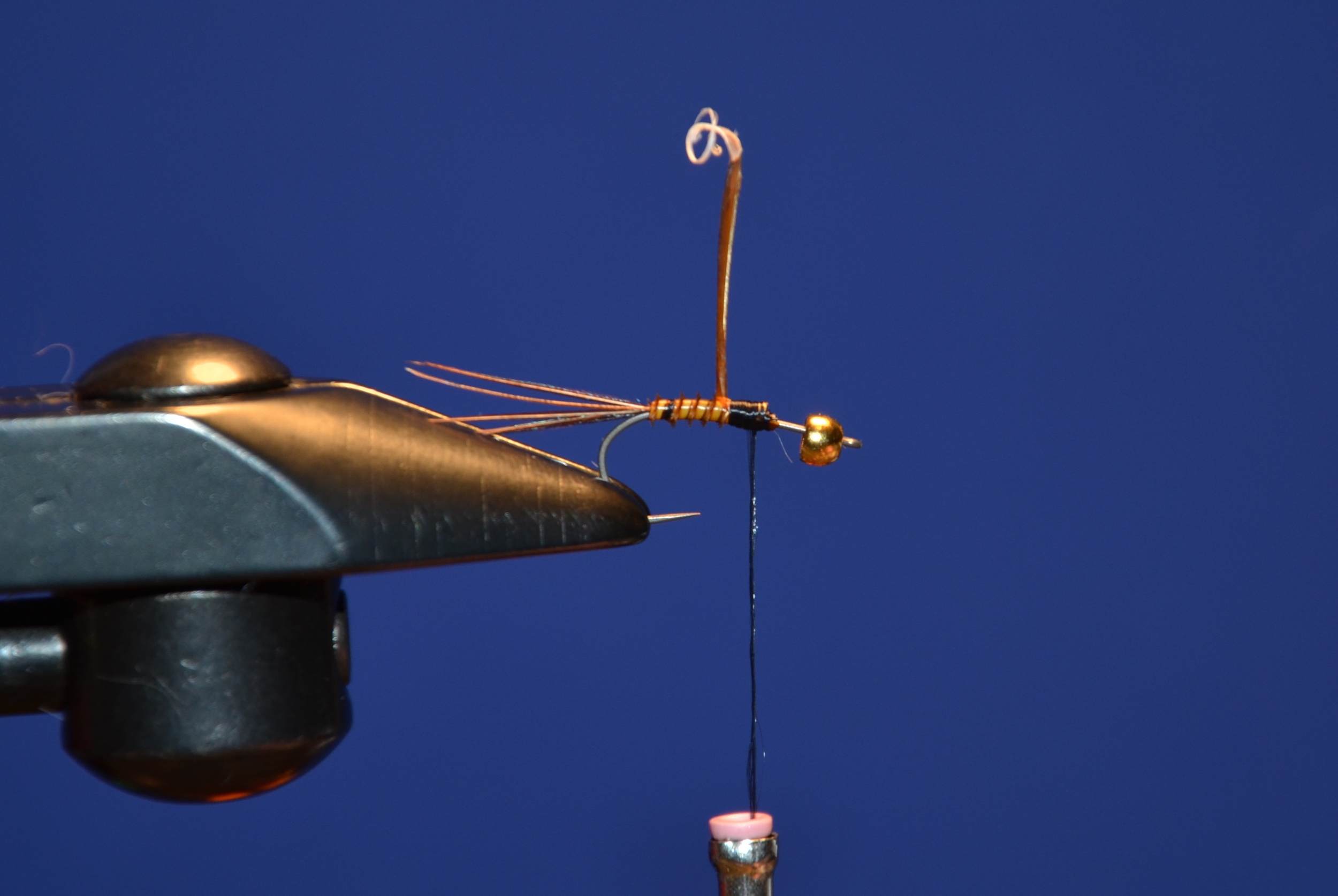 Tie off the biot and add another on coming off the back of the fly this will be pulled over and will make the shell.
