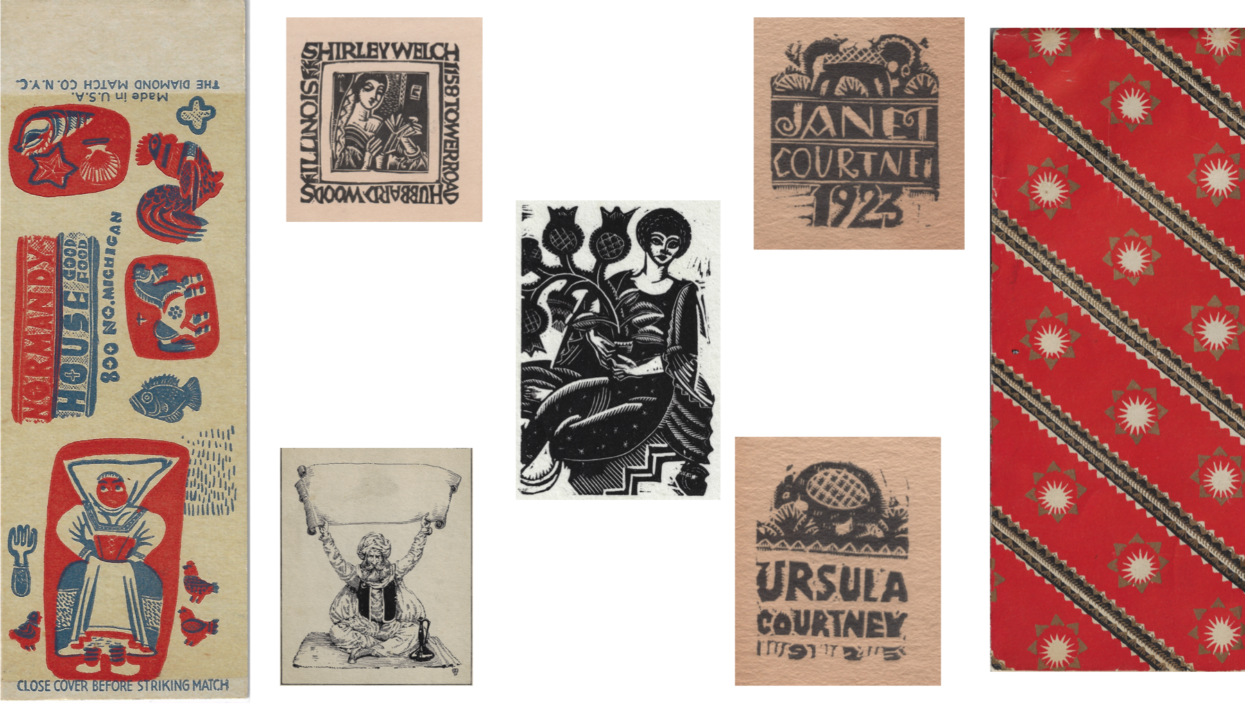 """Assorted Edgar Miller Ephemera including (clockwise from left): """"Normandy House matchbook"""", """"Shirley Welch - business card"""", """"Janet Courtney - business card"""", """"Christmas Wrapping Paper Design for Marshall Fields & Co."""", """"Ursula Courtney - business card"""", """"Genie - bookplate"""", """"Lady in Her Garden - Wood print stamp"""" (c. 1920s-30s)"""