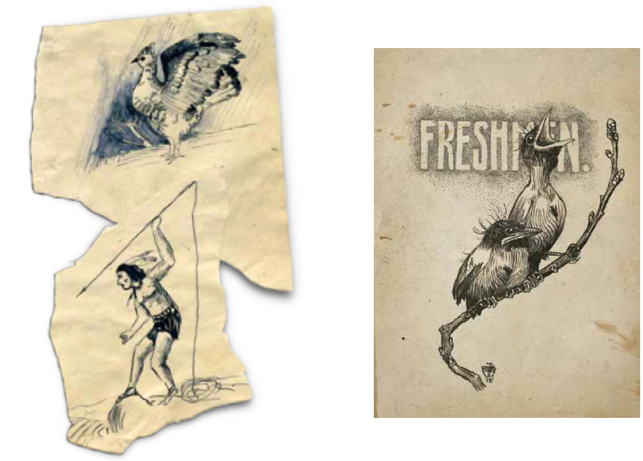 Illustrations from Edgar Miller's youth (c. 1907), including a page for his Eagle Rock High School year book. (1918)