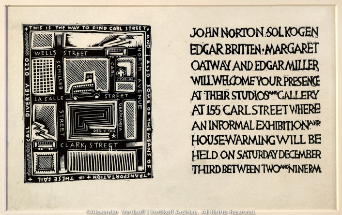"""Carl Street Studios exhibition invitation, including hand-designed """"Map of Old Town"""". (1927) Photo © Alexander Vertikoff."""