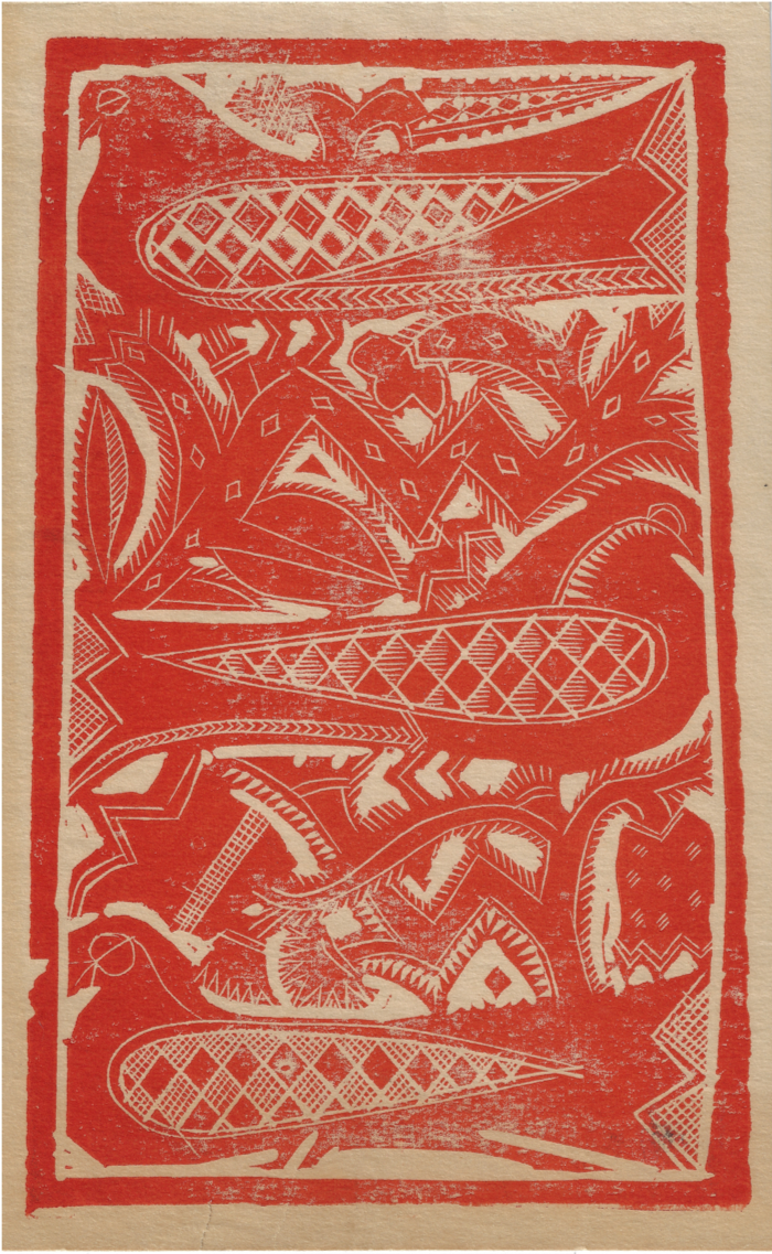 """Red Birds"" Card Design. (c. 1920s)"